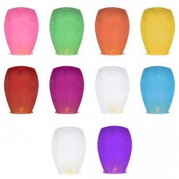 Lot de 10 lanternes volantes colorées